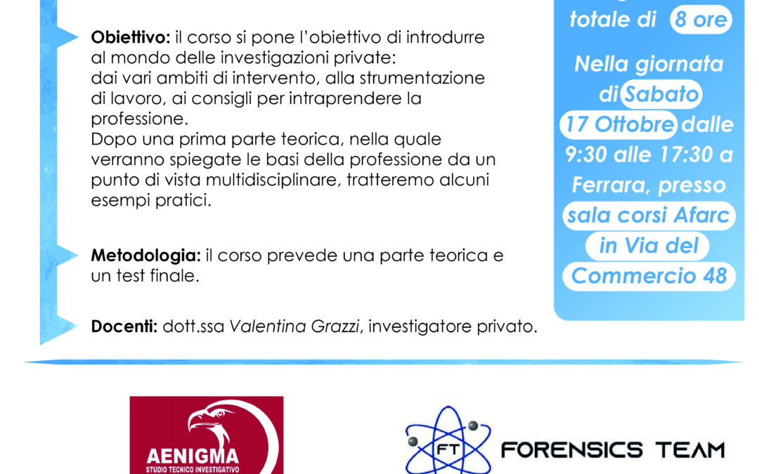 Corso Collaboratore Investigativo in Indagini Elementari